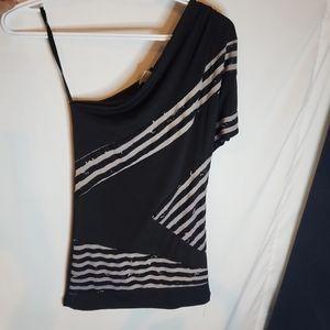 Uk2la one shoulder stripe top size small